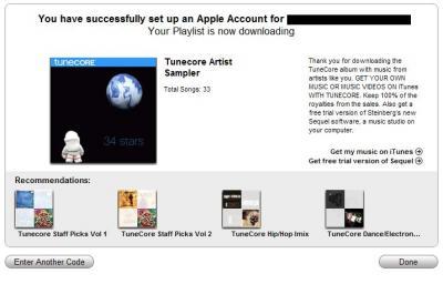 Finalmente vemos un mensaje donde nos avisan que terminó el registro correctamente y nuestras 34 canciones se están descargando.
