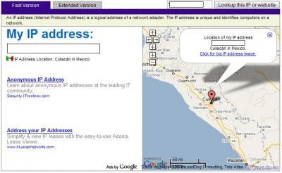 Al entrar al sitio por primera vez utiliza nuestra propia IP para la localización.
