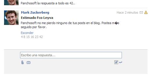 """Recepción de mensaje de """"Mark Zuckerberg"""" en Facebook"""